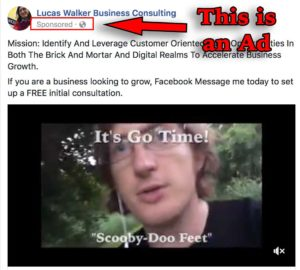 Facebook Ad Example For Lucas Walker Business Consulting